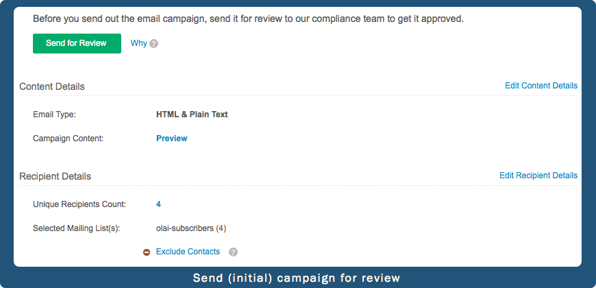 Send your campaign for review