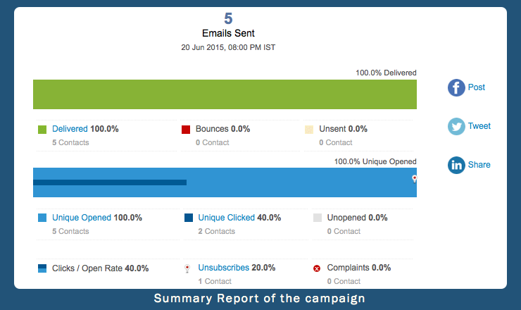 Summary report of your campaign