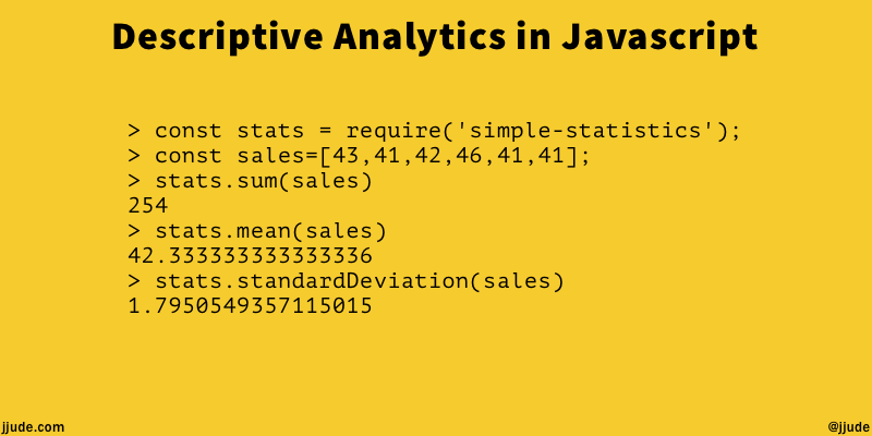 Descriptive Analytics in Javascript