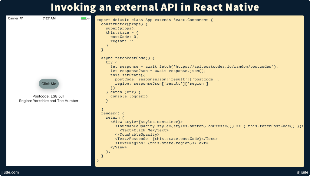 Invoking external API from React Native using Fetch