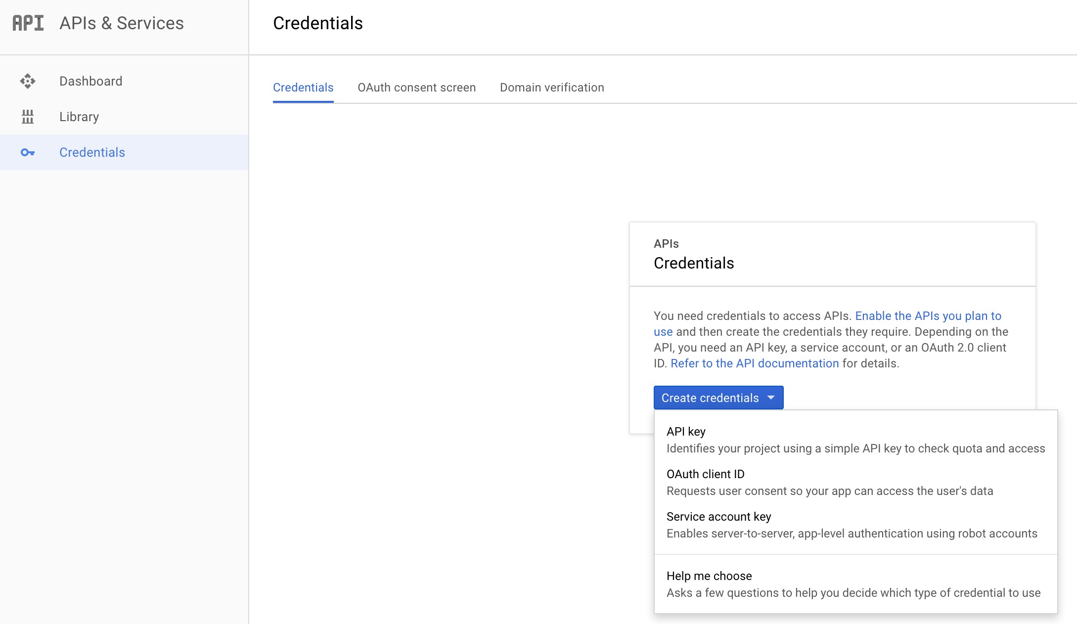 Project Credentials Page